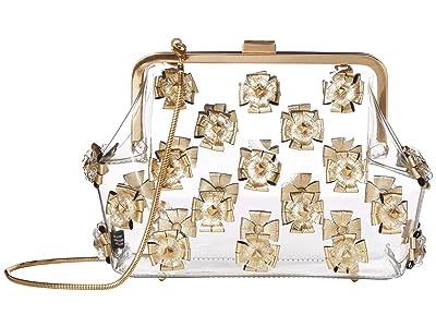 ZAC Zac Posen Floral Love Frame Clutch Metallic Glass (Gold) Handbags