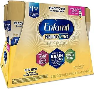 Enfamil NeuroPro Ready to Feed Baby Formula Milk, 8 fl. oz. (6 bottles) - Dual Prebiotics, Immune Support, Inspired by Breast Milk, DHA, Non-GMO, MFGM, Iron