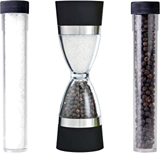 Orii GPT1815A 2-in-1 Hourglass Salt and Pepper Grinder Set, Clear