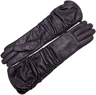 Women's Touchscreen Lambskin Leather Long Evening Opera Gloves Pleats