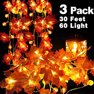 TURNMEON 3 Pack Pumpkin Maple Leaf String Lights Pumpkin Decor for Thanksgiving Wedding Party Holiday Festival Home Garland Tree Indoor Outdoor Decoration,Total 30 ft 60 LEDs 3AA Battery Operated