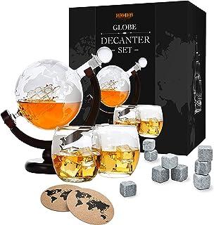 Whiskey Dekanter Set - Globus Karaffe aus Glas 850ml - 2 Whisky Gläser Set mit 9 Whiskysteinen - Whiskey-Weltkugel mit Schiff - Geschenkset - Alkohol Geschenke für Männer, Vater, Bruder von Toys4Boys
