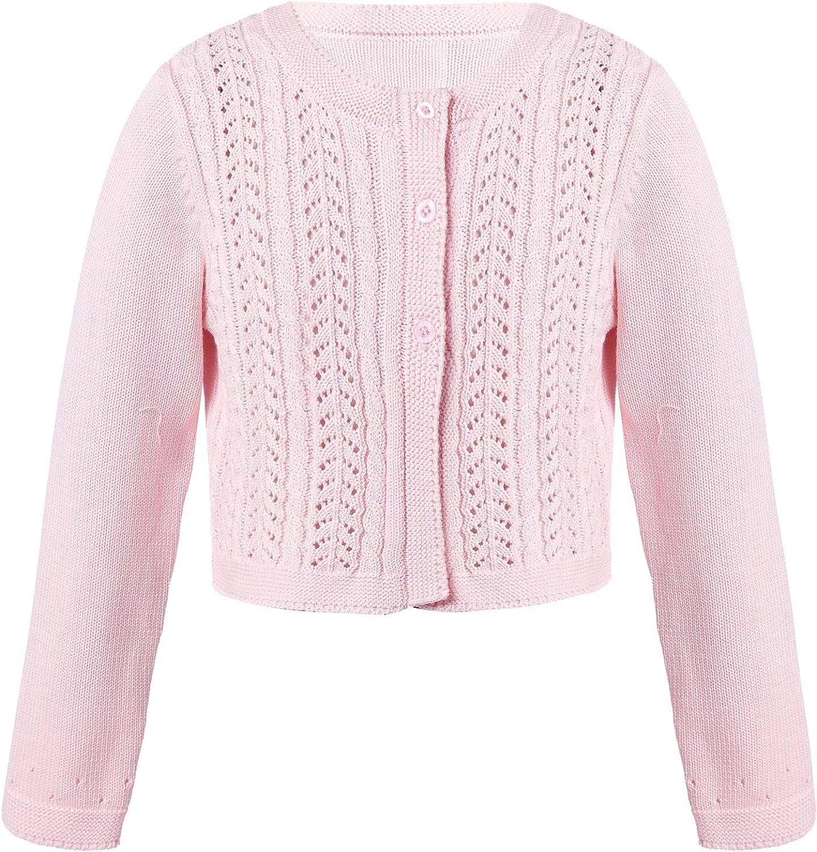 Nimiya Kids Girls Round Neck Long Sleeve Hallow Out Cardigan Dress Sweater Coat for Spring Autumn