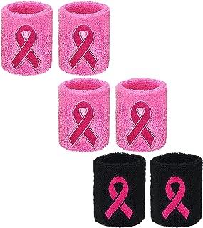 SATINIOR 3 Pairs Pink Ribbon Wristbands Breast Cancer Awareness Sweatband Elastic Sports Sweatbands