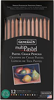 General Pencil 4400-12A General's Pastel Chalk Pencils, 12 Colors, Multicolor, 7 x 1/4 x 1/4 in