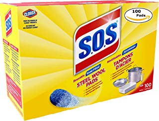 S.O.S 98014 Steel Wool Soap Pad, 100 Count (1 pk (100 Pads))