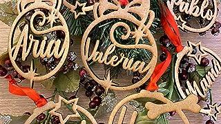 Bolas de navidad de madera personalizadas con lazo rojo incluido. Adornos navideños. Decoraciones colgantes de Navidad par...