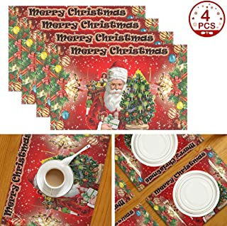 Wamika Merry Christmas Placemats, Xmas Tree Santa Table Mats Washable Winter Snowflakes Placemat Non-Slip Heat Resistant Place Mats for Party Kitchen Dining Table Decorations 12