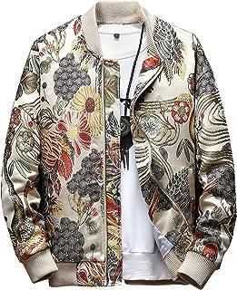 Sponsored Ad - SCOFEEL Men`s Embroidered Jacket Zip Up Flight Bomber Coat