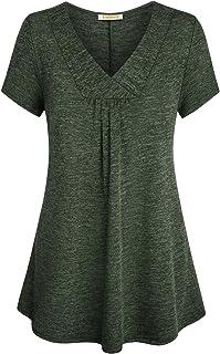 BAIKEA Womens Cross V Neck Short Sleeve Loose Flare Tunic Tops with Center Pleats
