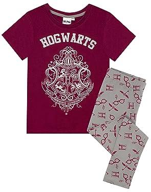 Harry Potter Hogwarts Crest Glitter Print Girl's Long OR Short Leg Pyjamas