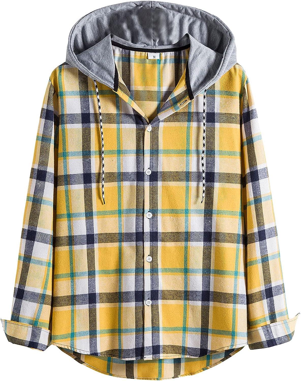 XXBR Plaid Hooded Shirts for Mens, Fall Long Sleeve Button Down Lapel Collar Checked Shirt Casual Beach Hoodies Tops