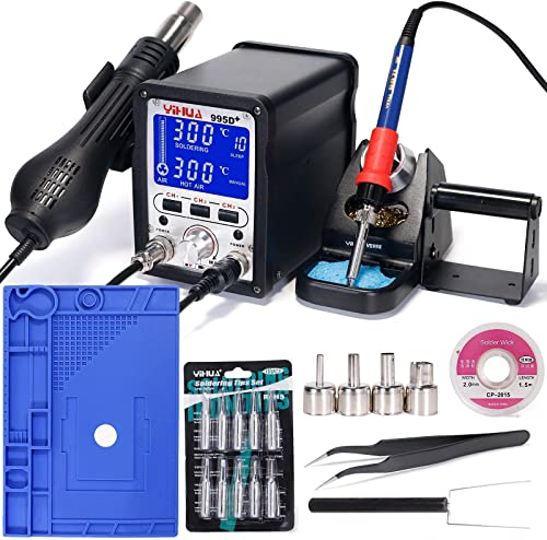"""wholesale YIHUA 995D+ Professional Soldering & Rework Station bundle with the 17.32"""" x 12.20"""" M180 Electronic Repair Mat Bundle with Iron holder, Soldering lowest Cleaning Kit and online sale Accessories (24 Items) online"""