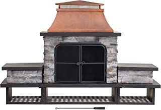 Sunjoy A304001200 Atticus Wood Burning Fireplace, Copper