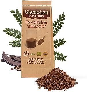 Carobpulver BIO 500g, Johannisbrot gemahlen, fettarmer Kakao-Ersatz, kalorienarme Alternative zu Schokolade, 31% ! Ballaststoffe, vegan, schonend getrocknet,plastikfrei abgepackt