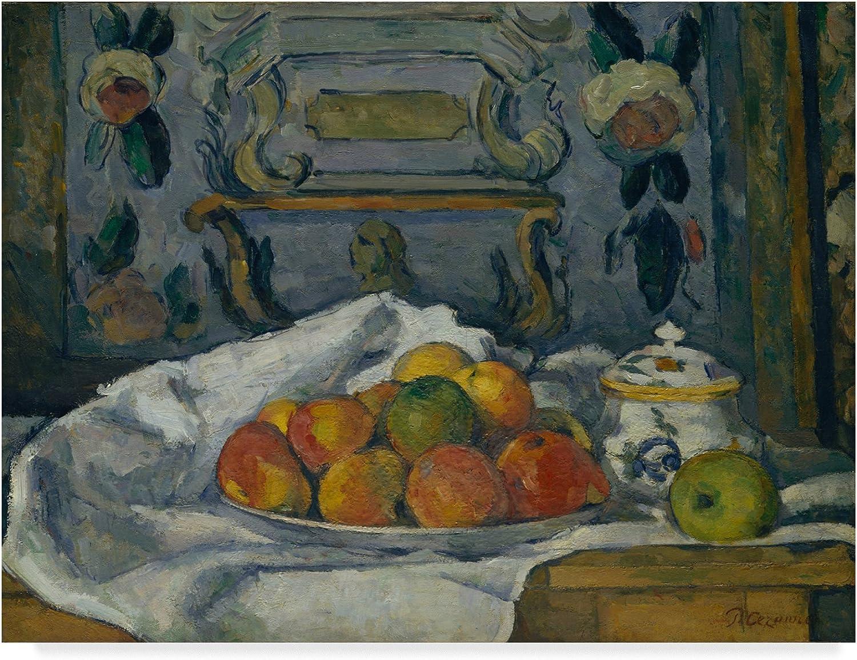 Trademark Fine Art Dish of Apples by Paul Cezanne, 14x19, Multicolor