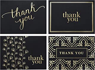 100 Thank You Cards Bulk - Thank You Notes, Black & Gold - Blank Note Cards with Envelopes - Perfect for Business, Wedding, Graduation, Baby Shower, Funeral - 4x6 Photo Size (black)