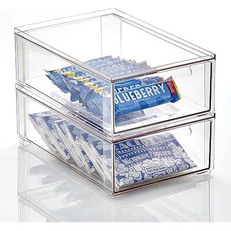 mDesign boite de rangement avec tiroir – boite de rangement plastique pour les chaussures – bac de rangement empilable pour accessoires, etc.– lot de 2 – transparent