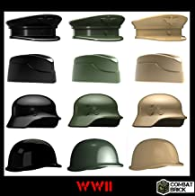 WWII Helmets and Headgear 12 pack - Custom Army Builder Minifig Toy Accessories lot