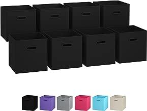 Royexe Storage Bins - Set of 8 - Storage Cubes   Foldable Fabric Cube Baskets Features Dual Plastic Handles. Cube Storage Bins. Closet Shelf Organizer   Collapsible Nursery Drawer Organizers (Black)