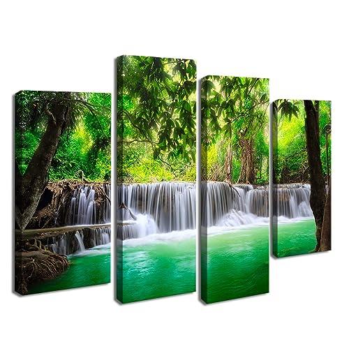 Cao Gen Decor Art S45738 4 Panels Wall Beautiful Waterfall Prints Green Forest Nature