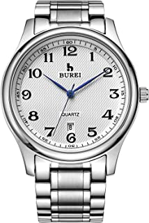 Men's Watch Date Quartz Wrist Watch with Classic Arabic Numbers Analog Dial and Silver Stainless Steel Bracelet