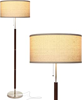 Brightech Carter LED Mid Century Modern Floor Lamp - Contemporary Living Room Standing Light - Tall Pole, Drum Shade Lamp with Walnut Wood Finish