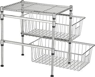 GEYUEYA Home 2-Tier Heavy Under Sink Organizer Cabinet Sliding Basket Drawer Expandable Shelf