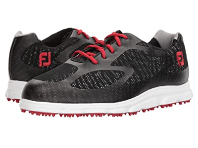 FootJoy Superlite Spikeless Engineered Mesh (Black/Red Trim/White) Men