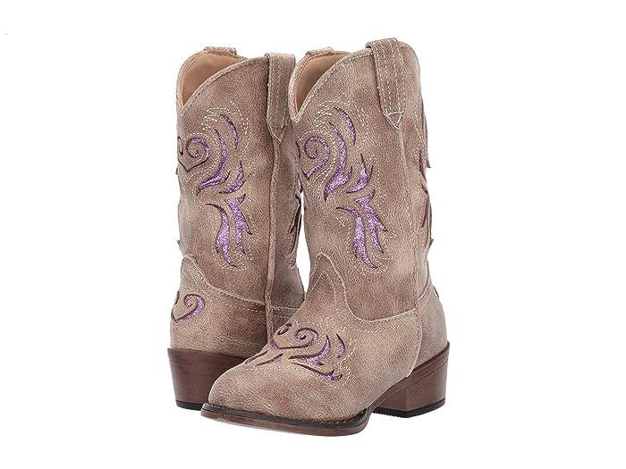 Roper Kids  Lydia (Toddler/Little Kid) (Beige/Purple Glitter Underlay) Cowboy Boots