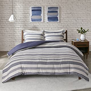 Urban Habitat Cole Stripe Print Ultra Soft Cotton Blend Jersey Knit Duvet Cover Set Navy Full/Queen