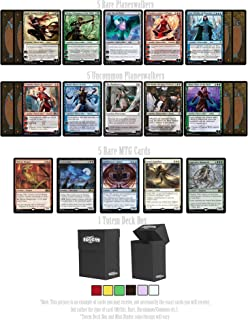 Totem World 15 Magic The Gathering Cards Holiday Lot: 5 Rare, 5 Uncommon Planeswalkers & 5 Rares with Deck Box Gift