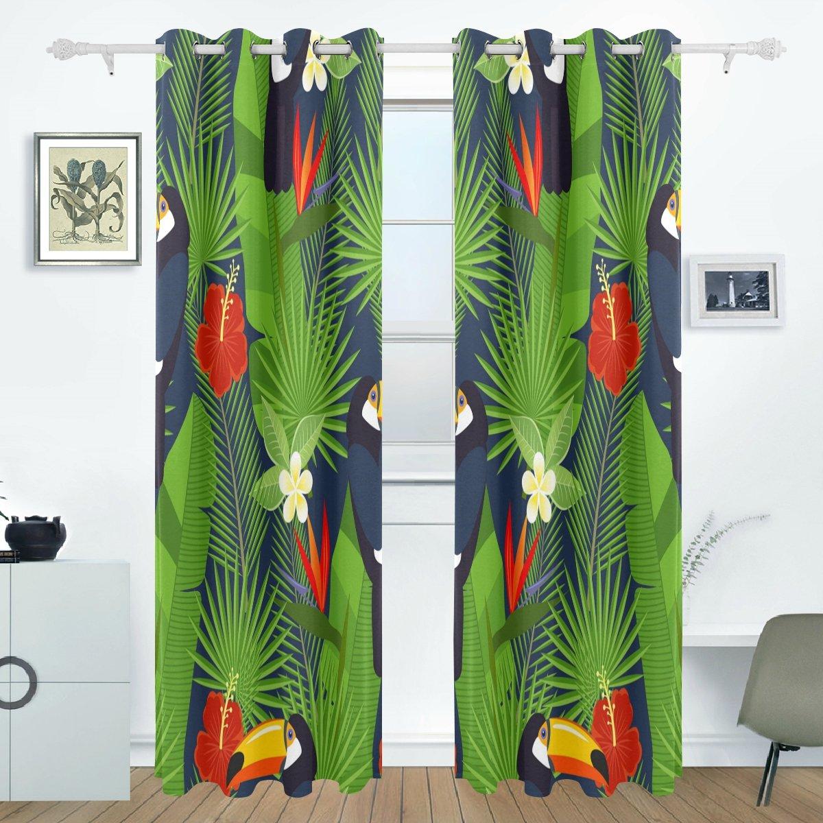 BENNIGIRY - Cortinas de plumeria hawaiana tropical y hibisco flores, paneles de cortinas oscurecimiento opacos, separador de habitación, para patio, ventana, puerta corredera de cristal, 140 x 213 cm, 2 paneles: Amazon.es: Hogar