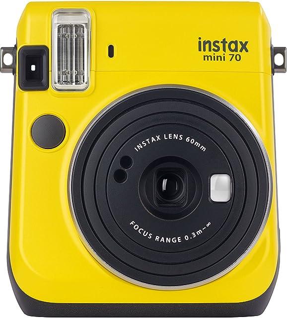 Fujifilm Instax Mini 70 - Cámara analógica instantánea (ISO 800 0.37x 60 mm 1:12.7 Flash automático Modo autorretrato exposición automática Temporizador Modo Macro) Amarillo Canario