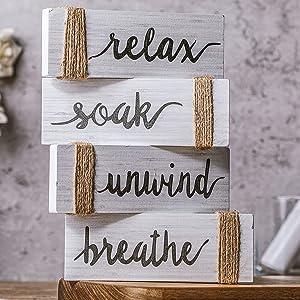 4 Pieces Relax Soak Unwind Breathe Wooden Sign Rustic Bathroom Wall Art Farmhouse Bathroom Wall Decor Hanging Vantage Bathroom Wall Sign for Home Bathroom Wall Decor, 6 x 6 Inch (White)