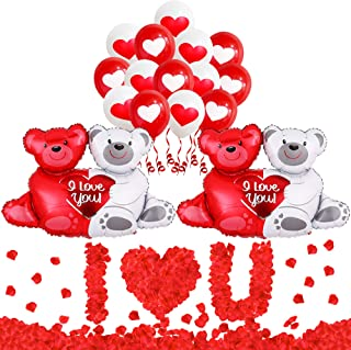 Teddy Bear Balloon Set Pack of 2 - 1000 Red Rose Petals | Red and White Heart Balloons for Valentine's Day | Romantic Deco...