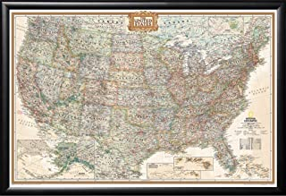 Poster Art House USA National Geographic United States Executive Map Black Detail Wood Frame with Push Pins