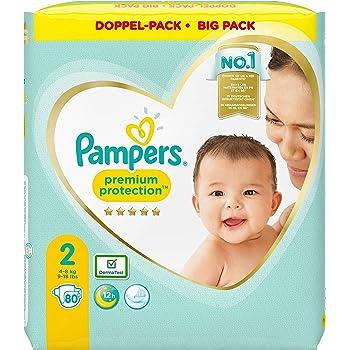 Pampers Premium Protection Windeln, Gr. 2, 4kg-8kg, Doppel-Pack (1 x 80 Windeln)