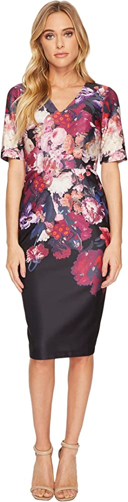 Adrianna Papell - Printed Scuba Sheath Dress