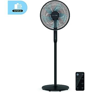 UNIVERSALBLUE | Ventilador de pie Silencioso Negro | Mando a Distancia | 24 velocidades | Modo Eco | Motor DC: Amazon.es: Hogar