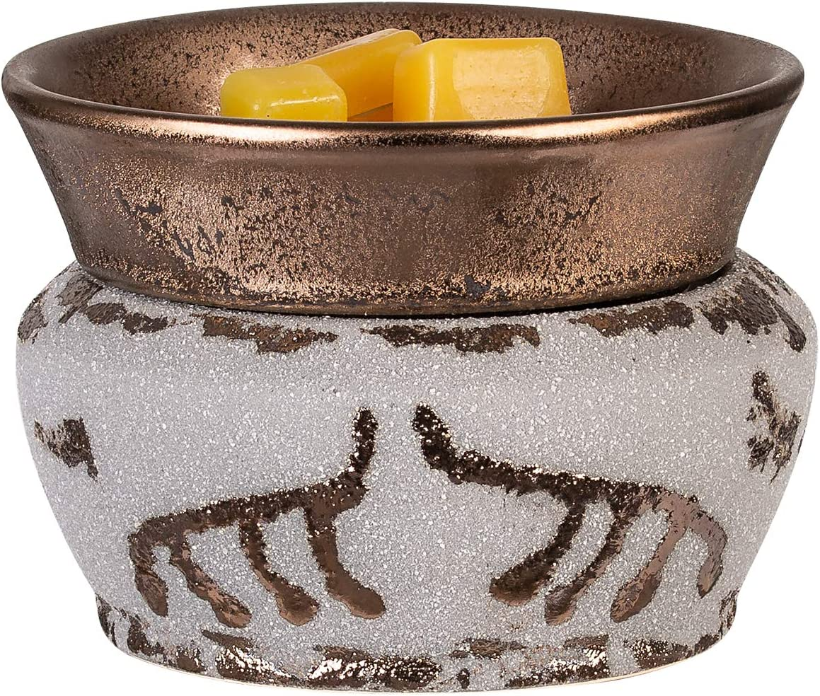 NALATI SUNPIN Electric 2 in 1 Wax Warmer for Scented Wax,Ceramic Candle Warmer,Home Fragrance Diffuser,Aroma Decor for Bedroom Living Room (Golden Gray)