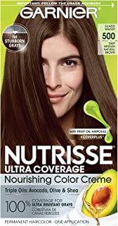 Garnier Nutrisse Ultra Coverage Hair Color, Deep Medium Natural Brown (Glazed Walnut) 500 (Packaging May Vary), Pack of 1