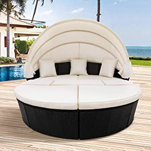 Merax All-Weather Outdoor Sectional Sofa Conversation Set Rattan Round Daybed Sunbed with Retractable Canopy and Removable Cushions (Beige)