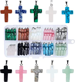 Cross Pendants - 40-Piece Stone Cross Pendants for Jewelry Making, 10 Colors, Gemstone Cross Charms for Crafting Necklaces, Bracelets, Keychains