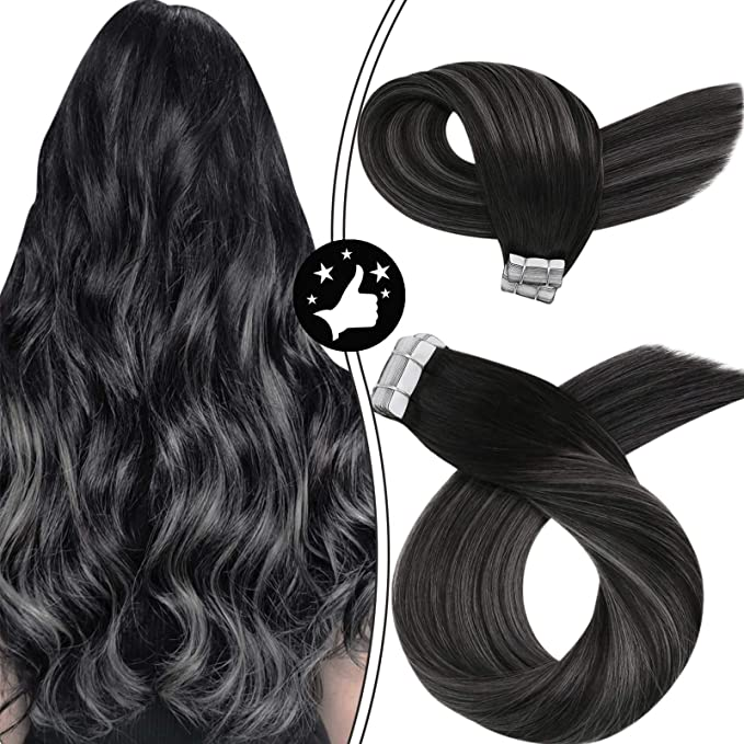 Image ofMoresoo 20 Pulgadas Balayage Black To Silver Gray Highlights Natural Remy Brasileno Extensiones de Cabello Humano Adhesivas Pelo Humano 50g/20pcs