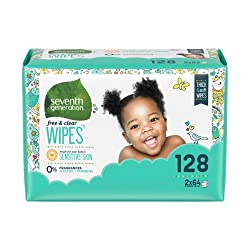 Seventh Generation Baby Wipes, Free & Clear Unscented and Sensitive, Gentle as Water, Refill with Ta