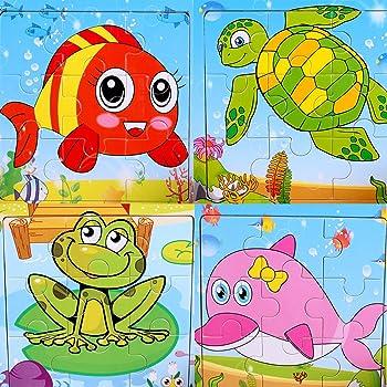 Puzzle en bois 9 pièces Animaux marins Puzzle premier âge