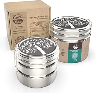 Stainless Steel Lunch Box with 'Tree of Life' Etching | Round 3 Tier Highest Grade Metal Stainless Steel Bento Box | 3 in 1 Stackable Lunch Containers | Perfect for Kids, Teens and Adults