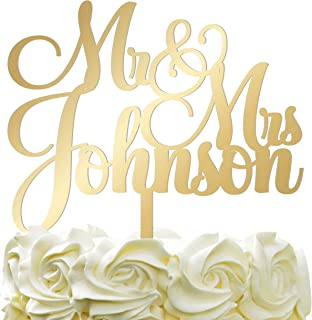 Personalized Wedding Cake Topper Wedding Cake Decoration Customized Mr Mrs Last Name To Be Bride Groom script font Mirrored Acrylic