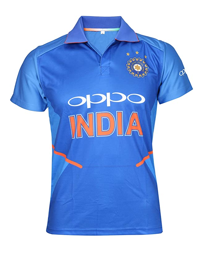 KD Cricket India Jersey Half Sleeve Cricket Supporter T-Shirt New Oppo Team Uniform Polyster Fit Material 2019-20 Kids to Adults